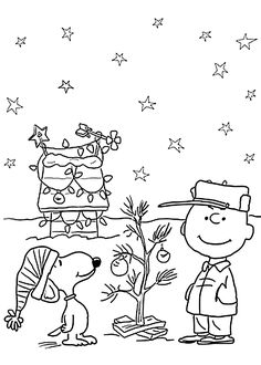 Charlie Brown and Christmas coloring pages for kids, printable free - Christmas page