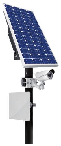 Stazione di alimentazione solare da esterno, protezione IP66, pannello fotovoltaico 130W (180W e 260W opzionali), erogazione 12V 36W o 24V 72W, inclusa batteria 150Ah, palo escluso, funzionalità avanzate di reportistica sullo stato del sistema accessibile via web.