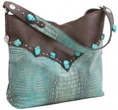 Brown Bomber & Turquoise Gator Big Tote by Double J Saddlery