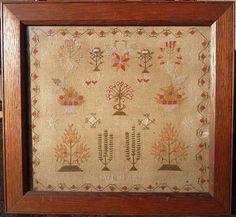 """Antique Sampler """"Summer"""" Circa 1840"""