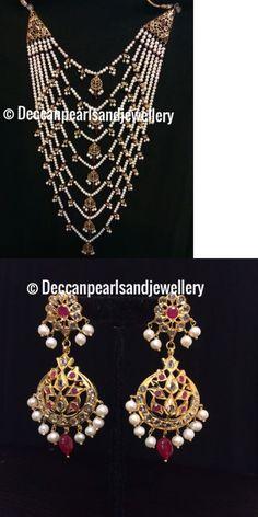 Sets 98513: Hyderabadi Satlada Set(Real Pearls) Indian Pakistani Jewellery -> BUY IT NOW ONLY: $220 on eBay!
