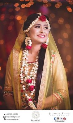 Bridal Outfits and Bridal Jewelry for Haldi Ceremony. Outfits and adornments the bride, groom and the relatives wear for the Haldi ceremony Bridal Mehndi Dresses, Indian Bridal Outfits, Flower Jewellery For Mehndi, Flower Jewelry, Jewelry Box, Zuni Jewelry, Jewelry Making, Steel Jewelry, Simple Jewelry