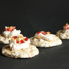 Carrot and Pistachio Meringue Nests with Pomegranate Cream | Veggie Desserts