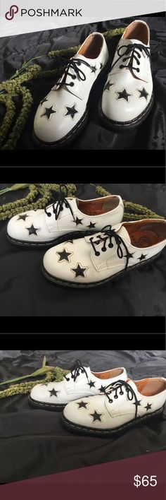 """TREDAIR SHOES MADE IN ENGLAND SZ M7, W8.5 Tredair Star Print Oxford shoes. The original Doc Martin manufacturer. Made in England. White Leather upper with star print. 1.75"""" heel, 0.75"""" sole. Leather upper. Partial leather lining. So cool and barely worn. Note***** These are a unisex shoe. They do have men's sizing. Euro size 35. Men's size 7. Women's size 8.5. I wear an 8.5 and these fit me perfectly. TredAir Shoes Flats & Loafers"""
