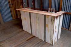 Rustic portable bar for use inside or outside. $120 ex gst.