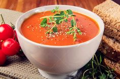 19634739-Delicious-gourmet-tomato-soup-with-fresh-herbs-and-pepper-Bread-oregano-and-tomatoes-on-the-side--Stock-Photo.jpg (1300×866)
