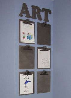 Place for kids to hang pictures that can be interchanged easily without damage