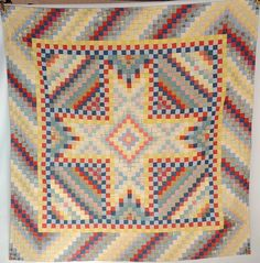 """Lancaster County Bowmansville Star Quilt, circa 1910, 81"""" square, deaccession from the Pennsylvania Quilt and Textile Musuem, Briggs Auction, Inc., Live Auctioneers"""