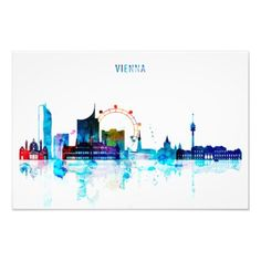 Skyline, Watercolor Paintings, Watercolour, Instagram Highlight Icons, Story Highlights, Travel Posters, Vienna, Instagram Story, Photo Art