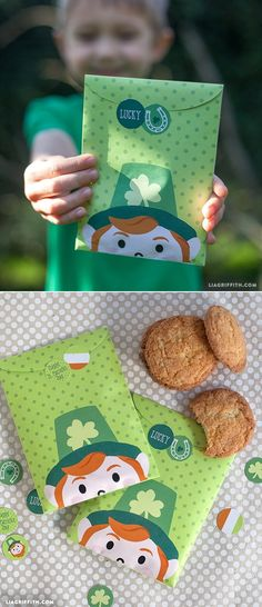 """St Patrick's Day Crafts - """"Lucky You"""" Treat Bags at www.LiaGriffith.com"""
