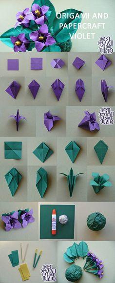 "origamiaround: "" origami violet tutorial (recut) making leaves yellow version . flowers tutorial origamiaround: "" origami violet tutorial (recut) making leaves yellow version . Instruções Origami, Origami Ball, Origami Rose, Origami Dragon, Origami Butterfly, Paper Crafts Origami, Origami Design, Paper Crafting, Oragami"