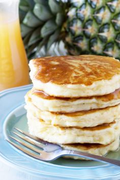 Enjoy the blend of tropical flavors in these delicious Pineapple Pancakes with Coconut Syrup. @stayathomechef