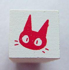 Livraison Service chat Jiji visage japonais Mini Rubber Stamp de Studio Ghibli Kiki