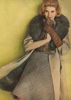 A case of coat-luxe that begins to look like a sensational buy when you look inside, where all of the natural grey Australian opossum is; outside, where more spills over a simple flare of beige cotton twill, by Modelia and flared wool dress by Sportwhirl. Vintage Glam, Vintage Vogue, Moda Retro, Nostalgia, Vintage Fashion Photography, 1960s Fashion, Wool Dress, Mellow Yellow, Fashion Beauty