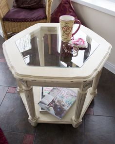 Hexagonal Glass Top Coffee Table Hand-painted Annie Sloane Old Ochre Shabby Chic