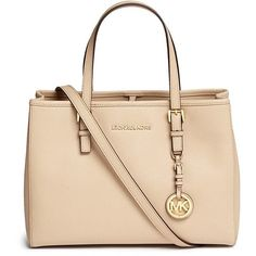 Michael Kors 'Jet Set Travel' medium saffiano leather east west tote ($270) ❤ liked on Polyvore featuring bags, handbags, tote bags, accessories, neutral, travel crossbody, tote handbags, michael kors crossbody, tote purses and crossbody purses