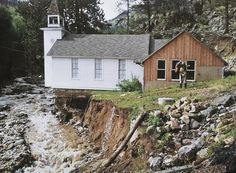 THE DAMAGE: Flood damage around the Little Church in the Pines in Salina, west of Boulder.