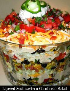 Layered Southwestern Cornbread Salad - melissassouthernstylekitchen.com