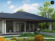 Проекта дома Z279 - фото 1 Simple House Plans, My House Plans, Two Bedroom House Design, Facade House, Home Interior Design, Gazebo, Architecture Design, Backyard, Outdoor Structures