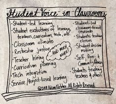 Student voice is any expression of any student, anywhere, anytime regarding learning, schools or education. With such a broad understanding of student voice, its easy to see that students can share… Student Voice, Restorative Justice, Curriculum Planning, The Voice, Teacher, Education, Learning, Students, Professor