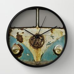 VW Rusty Wall Clock by Alice Gosling | Society6