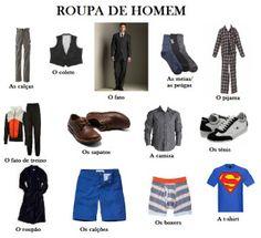 Aprende o vocabulário sobre a roupa de homem e a roupa de mulher.