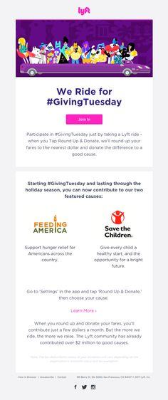 Lyft sent this email with the subject line: Join #GivingTuesday with Lyft - Read about this email and find more holiday emails at ReallyGoodEmails.com #holiday #givingtuesday #transportation #car