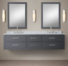 RH& Hutton Double Floating Vanity:This versatile collection brings a spare, Parsons-like sensibility to the bath. Floating Sink, Floating Bathroom Vanities, Master Bathroom Vanity, Double Sink Bathroom, Double Sink Vanity, Vanity Sink, Bathroom Styling, Bathroom Interior Design, Bathroom Designs
