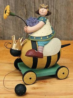 Girl on Bee Pull Toy – Everyday Folk Art Figurines & Collectibles – Williraye Studio