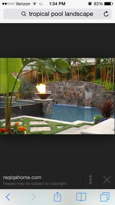 Like the stone on the wall of this pool.  Wouldn't want the wall this high though
