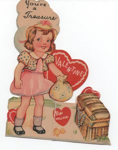Used 1942 Valentine, You're a Treasure, good shape, girl, treasure chest by VintageNEJunk on Etsy