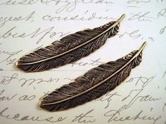 Small Oxidized Brass Plated Feather Stampings (2) - BOS2998 Jewelry Finding