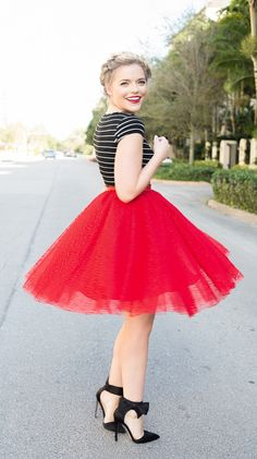 22 Beautiful Red Dress Inspirations to W. - 22 Beautiful Red Dress Inspirations to Wear On Christmas Eve Informations About 22 Beautiful Red D - Red Dress Outfit, Valentine's Day Outfit, Skirt Outfits, Outfit Of The Day, Pretty Outfits, Stylish Outfits, Cute Outfits, Red Tulle Skirt, 50s Skirt