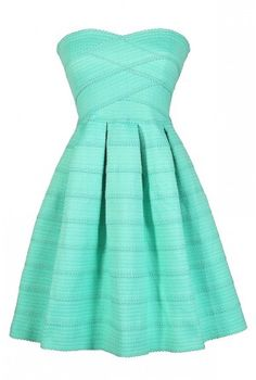Belle of The Soiree Textured Strapless Dress in Mint
