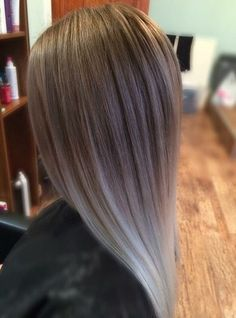 silver ombre for straight hair