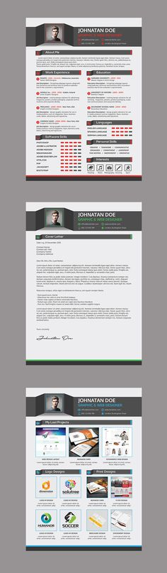 Professional Resume CV + Cover Letter + Portfolio is creative, clean and modern 3-piece resume template pack suitable for web & graphic designers, architects, artists and others