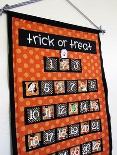 Countdown calendar for halloween - DIY Halloween Quilt Patterns, Halloween Fabric Crafts, Halloween Sewing Projects, Halloween Quilts, Diy Projects, Halloween Blocks, Fall Projects, Halloween Countdown, Holidays Halloween