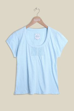 Our Day Dreamer Tee is 100% cotton making it super-soft and lightweight, perfect for the upcoming seasons. The far from basic tee offers stirring detail on the chest and an elegant lace hem along the rounded neckline. Perfectly paired with one of our cardigans and jeans. Also available in Hibiscus and White.