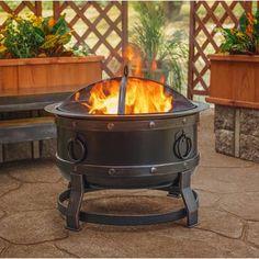 Chiminea Large Noir /& Antique Gold Acier Patio Extérieur Charbon Fire Pit
