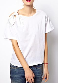 White Bow Round Neck Short Sleeve Cotton T-Shirt