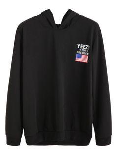 Black American Flag Print Hooded Sweatshirt -SheIn(Sheinside) Mobile Site