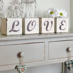 We love these vintage distressed decorative wooden letter blocks which look great in any room.  A personal, unique and chic wedding or engagement gift.  Or maybe a special Valentine's Day present?  We also have HOME in the same word blocks or a larger LOVE wooden letter set.