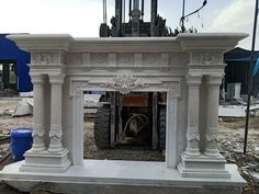 MASSIVE CARVED MARBLE EUROPEAN DESIGN FIREPLACE MANTEL - FPM685 #fromeuropetoyou