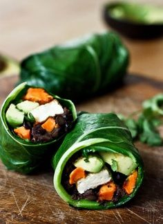 Roasted Yam and Chipotle Black Bean Collard Green Wrap,?cut in...