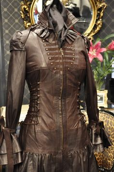 Ladies Brown Leather Steampunk Victorian Corset Couture Dress Coat. $1,053.00, via Etsy.