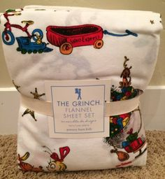 Pottery Barn Kids Dr Seuss How Grinch Stole Christmas Twin Sheet Set Flannel New | eBay