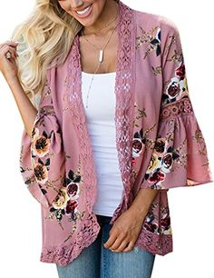 Women Lace Floral Printed Open Front Casual Coat Blouse Kimono Cardigans Cover up Tops Kimono Diy, Gilet Kimono, Women's Kimono Cardigan, Mode Kimono, Floral Kimono, Kimono Jacket, Floral Cardigan, Chiffon Kimono, Cardigan Sweaters