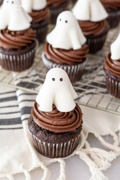 Classic Chocolate Cupcakes With A Cute Ghost Topper