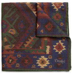 Printed Wool and Silk-Blend Pocket Square, Drake's