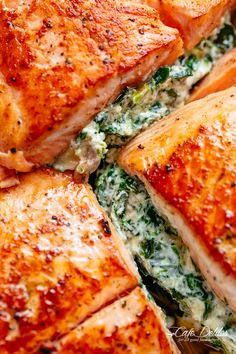 Creamy Spinach Stuffed Salmon in garlic butter | cafedelites.com